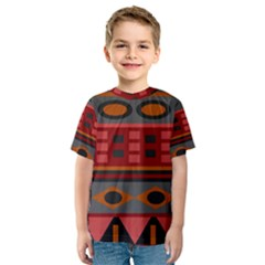 Red Orange Aztec Texture Design Kids  Sport Mesh Tee