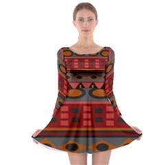 Red Orange Aztec Texture Design Long Sleeve Skater Dress