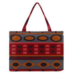 Red Orange Aztec Texture Design Medium Zipper Tote Bag