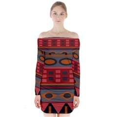 Red Orange Aztec Texture Design Long Sleeve Off Shoulder Dress