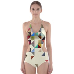 Retro Pattern Of Geometric Shapes Cut-Out One Piece Swimsuit