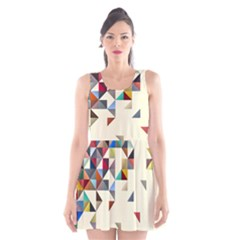 Retro Pattern Of Geometric Shapes Scoop Neck Skater Dress