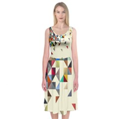 Retro Pattern Of Geometric Shapes Midi Sleeveless Dress