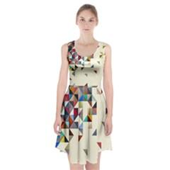 Retro Pattern Of Geometric Shapes Racerback Midi Dress