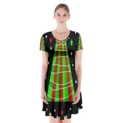 Xmas tree  Short Sleeve V-neck Flare Dress