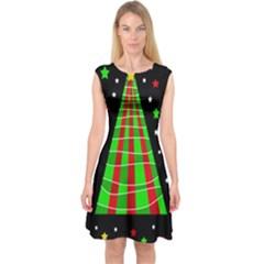 Xmas tree  Capsleeve Midi Dress