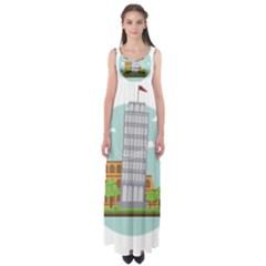 Roma Landmark Landscape Italy Rome Empire Waist Maxi Dress