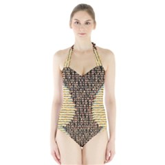 Rope Fabric Canvas Color Lana Halter Swimsuit