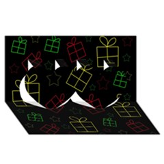 Xmas gifts Twin Hearts 3D Greeting Card (8x4)