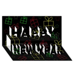 Xmas gifts Happy New Year 3D Greeting Card (8x4)