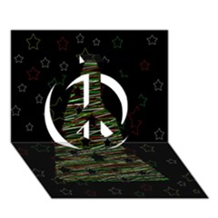 Xmas tree 2 Peace Sign 3D Greeting Card (7x5)