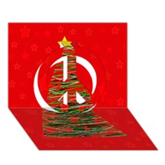 Xmas tree 3 Peace Sign 3D Greeting Card (7x5)