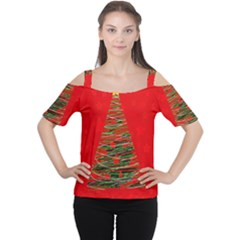 Xmas tree 3 Women s Cutout Shoulder Tee