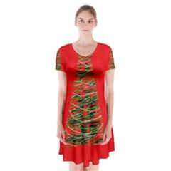 Xmas Tree 3 Short Sleeve V Neck Flare Dress
