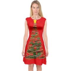 Xmas Tree 3 Capsleeve Midi Dress