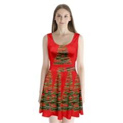 Xmas tree 3 Split Back Mini Dress