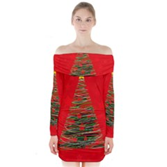Xmas Tree 3 Long Sleeve Off Shoulder Dress