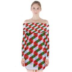 Shiny Floating Suspended Suspension Long Sleeve Off Shoulder Dress