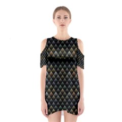 Snake Scales Shiny Skin Cutout Shoulder Dress