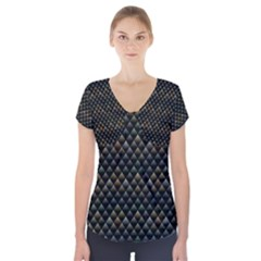 Snake Scales Shiny Skin Short Sleeve Front Detail Top