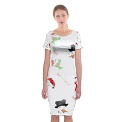 Snowman Christmas Pattern Classic Short Sleeve Midi Dress