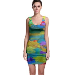 Space Bark Color Background Sleeveless Bodycon Dress