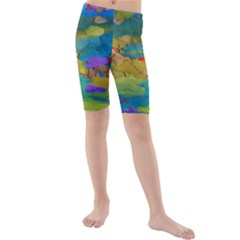 Space Bark Color Background Kids  Mid Length Swim Shorts