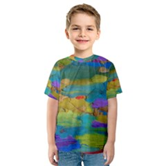 Space Bark Color Background Kids  Sport Mesh Tee
