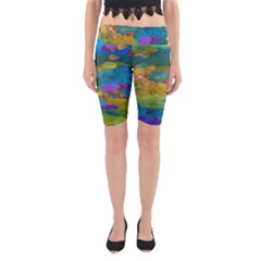 Space Bark Color Background Yoga Cropped Leggings