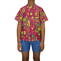 Square Background Background Texture Kids  Short Sleeve Swimwear