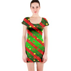 Star Sky Graphic Night Background Short Sleeve Bodycon Dress