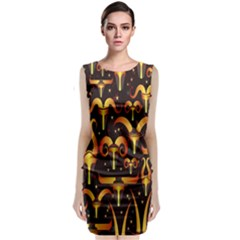 Stylised Horns Black Pattern Classic Sleeveless Midi Dress