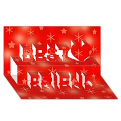 Red Xmas desing Best Friends 3D Greeting Card (8x4)