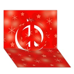 Red Xmas desing Peace Sign 3D Greeting Card (7x5)