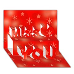 Red Xmas desing Miss You 3D Greeting Card (7x5)
