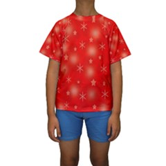 Red Xmas desing Kids  Short Sleeve Swimwear