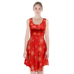 Red Xmas Desing Racerback Midi Dress