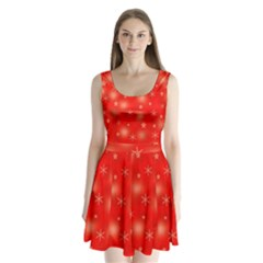 Red Xmas desing Split Back Mini Dress