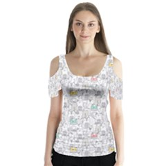 Doodle Cats  Butterfly Sleeve Cutout Tee