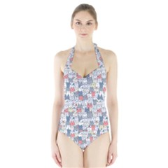 Cats Family  Halter Swimsuit