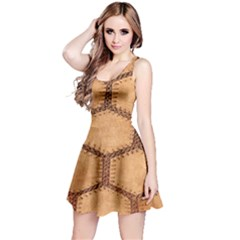 Suede Fabric Hexagon Tan Soft Reversible Sleeveless Dress