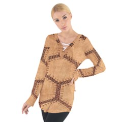 Suede Fabric Hexagon Tan Soft Women s Tie Up Tee