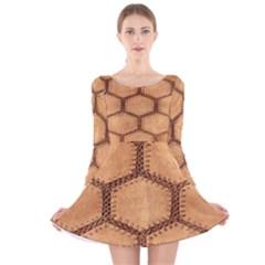Suede Fabric Hexagon Tan Soft Long Sleeve Velvet Skater Dress