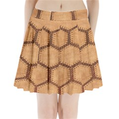 Suede Fabric Hexagon Tan Soft Pleated Mini Skirt