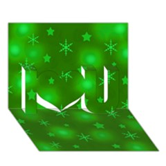 Green Xmas design I Love You 3D Greeting Card (7x5)