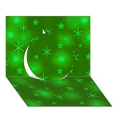 Green Xmas design Circle 3D Greeting Card (7x5)
