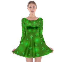 Green Xmas design Long Sleeve Skater Dress
