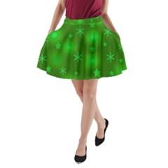 Green Xmas Design A Line Pocket Skirt