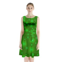 Green Xmas Design Sleeveless Chiffon Waist Tie Dress