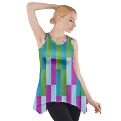 Textile Texture Purple Baby Blue Side Drop Tank Tunic